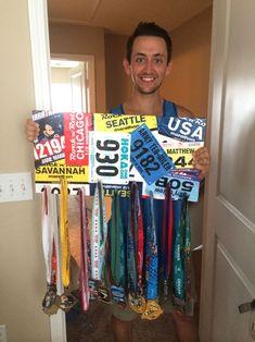 matthew izzo race bib marathon medal display