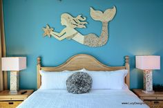 Mermaid Wall Art New Design with Sea Shells, Crushed Glass and Crushed Shells