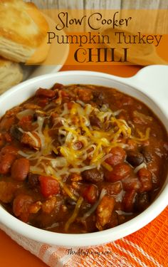 This Slow Cooker Pumpkin Turkey Chili Recipe is perfect hearty recipe for fall with a hint of pumpkin spice.