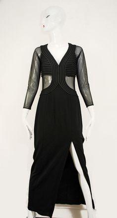 TADASHI SHOJI BLACK MESH CUT OUT SEXY SLIT PAGEANT EVENING Gown DRESS Womens M 8 #TadashiShoji #BallGown #Formal