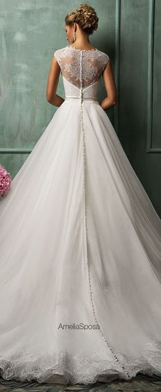 Amelia Sposa 2014 Wedding Dresses | the perfectly placed lace and the buttons!!