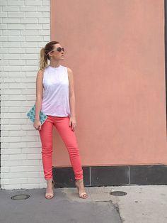 Coral, jade, lauren k, joes jeans, nude chunky heel, ikat notebook, fashion blog