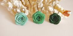 Mint Green Turquoise Green Deep Teal Green Rose Necklace, Green Flower Necklace, Bridesmaid Necklace Green Shabby Chic Wedding