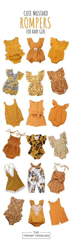 Refresh your baby girl's wardrobe in time for any occasion with this collection of cute mustard rompers. She deserves to look outstanding and get tons of compliments Baby Girl Mustard Rompers Collection The Trendy Toddlers thetrendytoddlers The Tre Baby Girl Romper, Baby Girl Dresses, Baby Dress, Baby Girls, Baby Baby, Sew Baby, Toddler Girls, Baby Girl Fashion, Toddler Fashion
