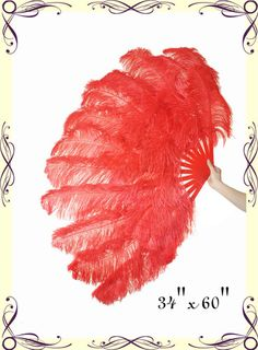 60'' XL Large double-layer Scarlet Ostrich Feather Fan ++ | eBay
