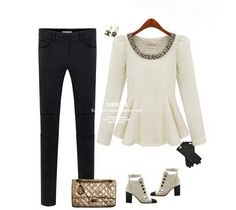 Puff Long Sleeve White Peplum Top with Embellished Crew Neck $18.95