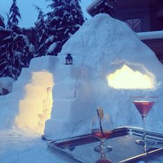 Cozy igloo and cocktails for two at @Four Seasons Resort Whistler. #FSResorts