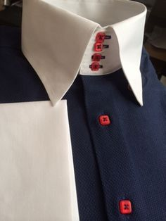 cotton, White contrast collar and cuffs(french) with 4 button high hidden button down collar. Stylish Mens Outfits, Stylish Shirts, Mens Attire, Mens Suits, Bespoke Clothing, Men's Clothing, Man Dress Design, Clothes Crafts, Men Clothes