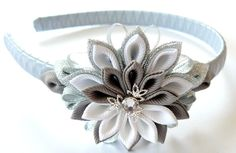 Kanzashi Fabric Flower headband grey silver and white by JuLVa, $18.00