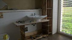 mit Handwaschbecken Vanity, Bathroom, Cob Home, Timber Wood, Dressing Tables, Washroom, Powder Room, Vanity Set, Full Bath