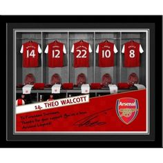"""Theo Walcott Signed Dressing Room This wonderful gift includes Walcott's replica signature underneath a personalised message from the man himself reading """"Forename Surname, Thanks for your support. You're the true Arsenal legend"""".    Presented in a stylish folder or a contemporary frame (including mount).     This is the perfect gift for any Arsenal fan. Arsenal Gifts, Theo Walcott, Contemporary Frames, Arsenal Football, Gifts For Boys, Dressing Room, Unique Gifts, Thankful, Presents"""