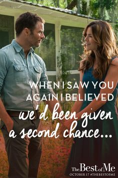 There is no such thing as a second chance when it's meant to be. Watch as two former high school sweethearts reignite the love they've never forgotten in The Best of Me - in theaters October 17, 2014! Click through to watch the trailer!