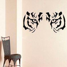 WALL ART STICKER VINYL DECAL PEOPLE SILHOUETTE MURAL FACE OF TIGER ANIMALS DA184 #MuralArtDecals