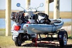 Vespa_with_kayak_sidecar. I think it, it already exists. Kayak Camping, Canoe And Kayak, Kayak Fishing, Travel Trailer Tires, Kayak Trailer, Kayak Transport, Big Yachts, Drift Trike, Kayaking