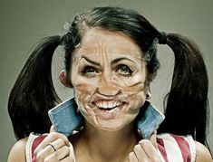 Something as simple as a roll of Scotch tape can transform faces in a not-so-pretty way. In fact, the Scotch Tape series of photos shot by Wes Naman Wes Naman, Tape Face, Scotch Tape, Wtf Face, Portraits, Portrait Pictures, Lol, Weird Pictures, Picture Design