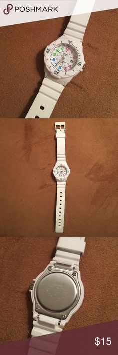 CASIO WATCH White Casio Watch with Pink, Purple, Blue & Green Numbers - Great for Clinical Use! Plastic Wristband - Easy to Clean! Working Battery! Casio Accessories Watches