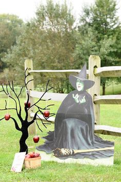 Wizard of Oz Party wicked witch cut out with apple tree