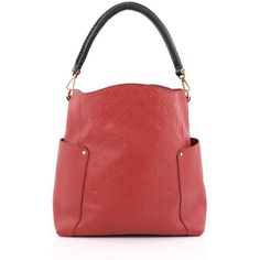 Pre-Owned Louis Vuitton Bagatelle Hobo Monogram Empreinte Leather (€2.405) ❤ liked on Polyvore featuring bags, handbags, shoulder bags, red, leather hobo handbags, shoulder strap purses, hobo shoulder bags, long strap purse and leather hobo shoulder bags