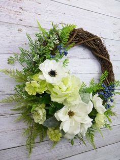 Magnolia Wreath Spring Wreaths For Front Door Wreahs Hostess Gift for New Homeowners Gift Grapevine Outdoors Wreaths Everyday Wreath