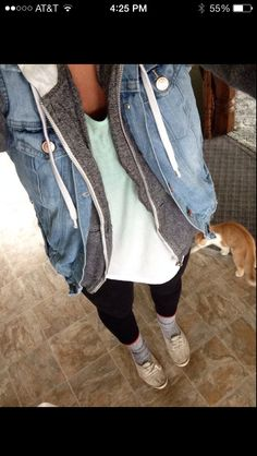 Jean vest with sweatshirt