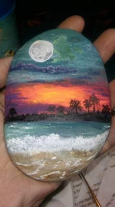 Beautiful tropical scene painted on stone! Does anyone know who the artist is?