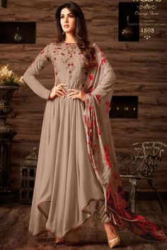 a7f264761b Gorgeous Chikoo Color Celebrity Style Wedding Wear Georgette Fabric  Designer Celebrity Outfit Stylish Indian Traditional Wear