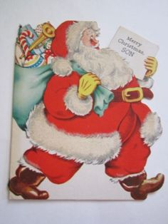 VINTAGE 1946 SANTA CLAUS CHRISTMAS CARD, SANTA'S BAG, TOYS, FUZZY TRIM