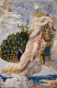 The Month of June: Juno and the Peacock ~ French Symbolist painter Gustave Moreau's visionary scene in The Peacock Complaining to Juno has an eagle looking down from heaven. Les Fables, Dante Gabriel Rossetti, Creation Art, Goddess Art, Juno Goddess, Peacock Art, Pre Raphaelite, Gustav Klimt, Greek Gods