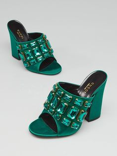 200da428e63 Gucci Emerald Satin Bejeweled Open Toe Mule Sandals Size 6 36.5
