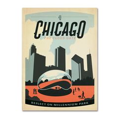 Chicago Cloud Gate by Anderson Design Group Graphic Art Gallery Wrapped on Canvas