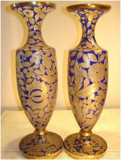 Pair of blue painted glass vases enamelled in gold and silver by  Julius Mühlhaus (Co.), Germany c. 1890