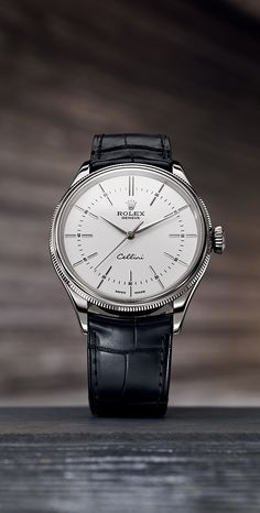 The Rolex Cellini Time features a redesigned white lacquer dial with 12 elongated applique hour markers.