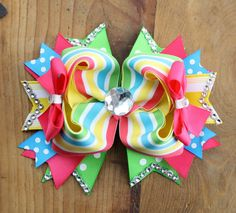 Funky Colorful Hair Bow, Summer Hair Bow, Green Pink Yellow Green on Etsy, $9.00
