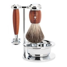 MÜHLE Shaving Culture | Shaving set of MÜHLE, pure badger, with safety razor, handle material made of plum wood