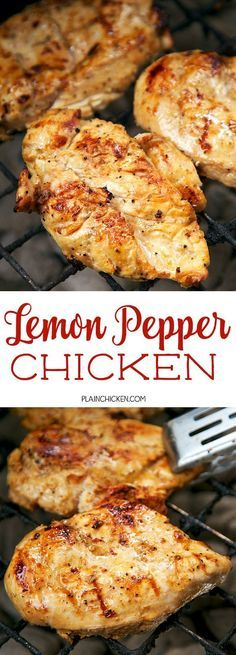 Lemon Pepper Chicken - This chicken is CRAZY delicious! Only 5 ingredients! SO simple! olive oil, lemon juice, Worcestershire sauce, lemon pepper and salt. The chicken is so tender and juicy. It has TONS of great flavor. We like to double the recipe for l Grilling Recipes, Cooking Recipes, Healthy Recipes, Cooking Tips, Healthy Grilling, Honey Recipes, Juice Recipes, Cooking Videos, Potato Recipes