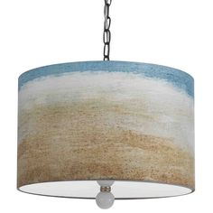 Pendant with a hand-printed shade.    Product: Pendant    Construction Material: Styrene and fabric    Color: White, blue, green and amber  Features:  Inspired by the shores of the beach  Hand printed shade
