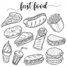 Junk Food Set of isolated sketches of junk or fast food. Hot dog and hamburger, cheeseburger and sandwich, donut or doughnut, ice cream in waffle cone, soda in cup with straw. Food and nutrition theme Cute Food Drawings, Doodle Drawings, Doodle Art, Drawing Sketches, Food Doodles, Food Art For Kids, Food Sketch, Food Cartoon, Object Drawing