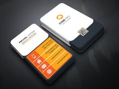 Corporate Vertical Business Card by Jihadraj on Vertical Business Cards, Blank Business Cards, Letterpress Business Cards, Business Card Psd, Unique Business Cards, Professional Business Cards, Business Card Design, Creative Business, Business Card Template Word
