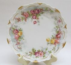 Antique-Coronet-LIMOGES-Floral-Roses-Gilt-Plate-Made-in-France-8-3-4