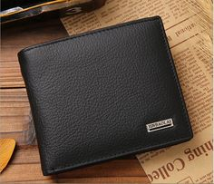 New Mens Brown Color Wallet trifold Purse Genuine Leather with Card Holder Free Shipping #Affiliate