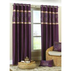 Bella Faux Silk Ring Top Curtains Purple 90 X