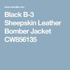Black B-3 Sheepskin Leather Bomber Jacket CW856135