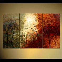 """Tree Painting Cherry Tree Acrylic Painting 60"""" x 36"""" Olive Green,... ($599) ❤ liked on Polyvore featuring home, home decor, wall art, almond tree, tree paintings, red abstract painting, olive tree and acrylic flower painting"""