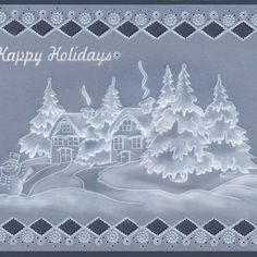 Example_white on PCA Embossing Parchment Templates - Homemade Christmas Cards, Homemade Cards, Vellum Crafts, Parchment Design, Printing And Binding, Parchment Cards, Creation Deco, Theme Noel, Card Patterns