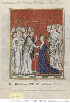 [Miniature représentant le sacre d'une reine, portant une robe armoriée de France et de Bourbon. Elle est suivie d'un cortège de dames] : [dessin] - 1