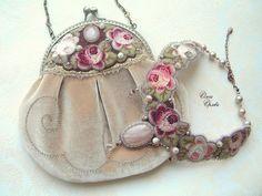 Bead Embroidery and Velvet Handbag with Matching Collar by Olga Orlova Vintage Purses, Vintage Bags, Vintage Handbags, Beaded Purses, Beaded Bags, Bead Embroidery Jewelry, Ribbon Embroidery, Seed Bead Jewelry, Beaded Jewelry