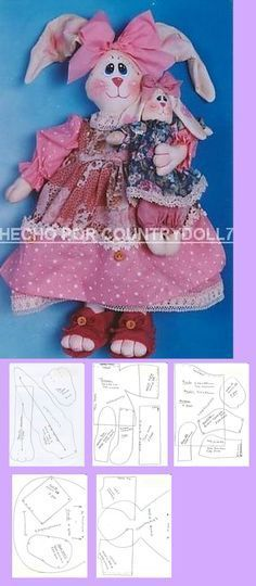 FELTRO MOLDES ARTESANATO EM GERAL: COELHO COM MOLDE -CRÉDITOS NA FOTO Bunny Toys, Baby Bunnies, Sock Dolls, Doll Toys, Doll Clothes Patterns, Doll Patterns, Felt Crafts, Easter Crafts, Rabbit Baby