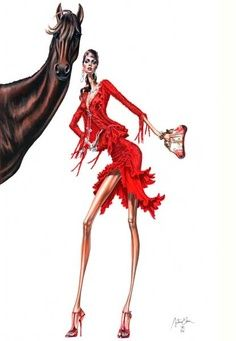 Arturo Elena Fashion illustration.  Do you see the exaggeration in the length of the bodies.  It's not real life!