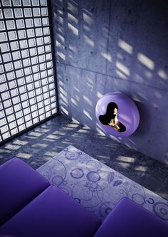 Bioethanol Wall-Mounted carbon steel Fireplace BB by ANTRAX IT | #Design Andrea Crosetta (2011) #fireplace #purple #colour