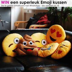 Ben jij ook zo'n WhatsApp-fanaat of wil je gewoon je kamer opfleuren met deze hilarische kussens? De Heart eyes smiley kussen, Crazy tongue kussen en Poo de drol kussen maken jouw dag in ieder geval een stuk vrolijker! Leg ze op je bed of bank, of verras een vriend of vriendin met een waanzinnig leuk cadeau! http://www.wonenonline.nl/emoji-smiley-whatsapp-kussens.html